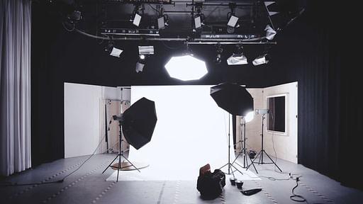 Spotlights set up on a camera set