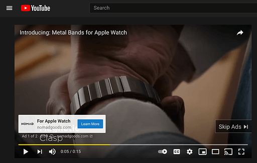 Ad for watch bands on YouTube