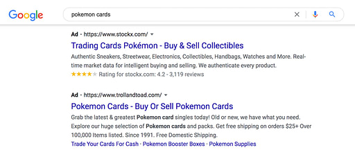 Ad results from Google Search for pokemon cards.