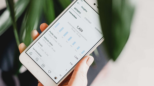 Phone showing website insights, clicks and website views
