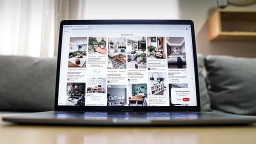 Laptop open to Pinterest
